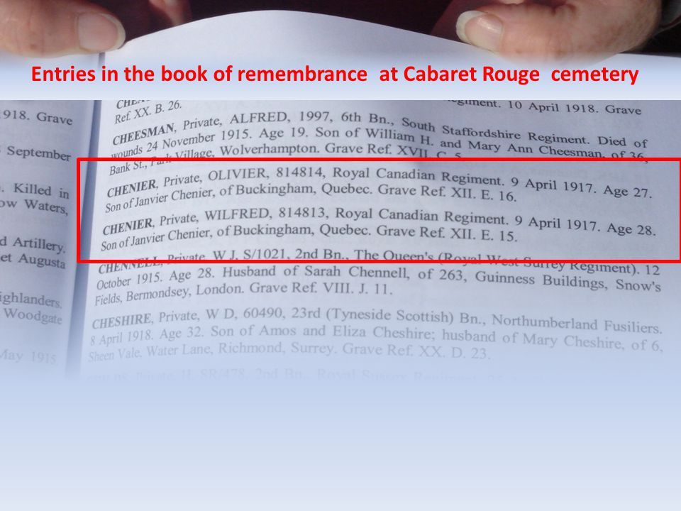 Entries in the book of remembrance at Cabaret Rouge cemetery