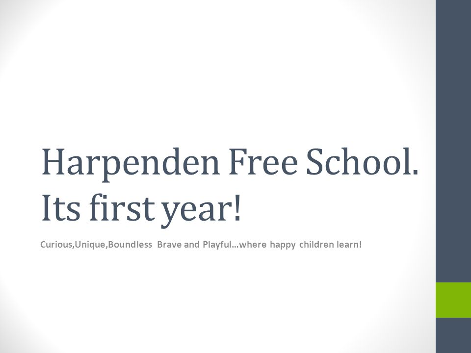 Harpenden Free School Purpose: To highlight what has been achieved by a community within a community.
