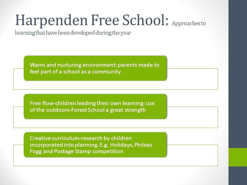Harpenden Free School: Targets for next year New staff team appointed to add curricular expertise to the school Accurate tracking information recorded to aid pupil progress Rigorous planning and monitoring of core subjects Development of the Arts and Sport Development of a Learning Success programme to aid both low and high achievers Office efficiencies (particularly communications) through additional staff.