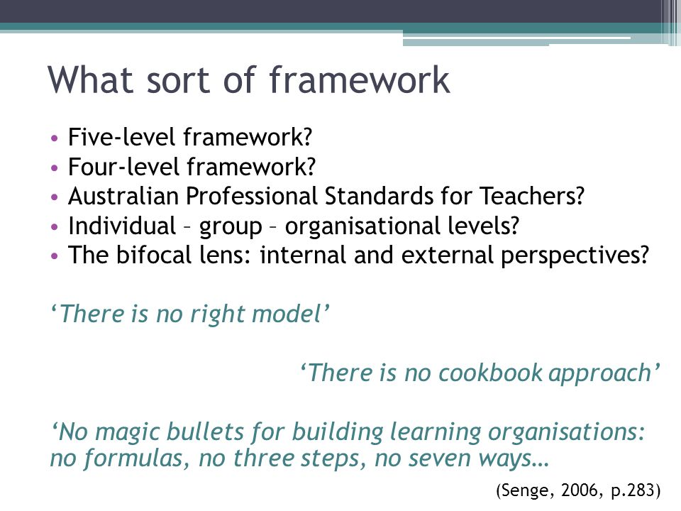 What sort of framework Five-level framework? Four-level framework? Australian Professional Standards for Teachers? Individual – group – organisational