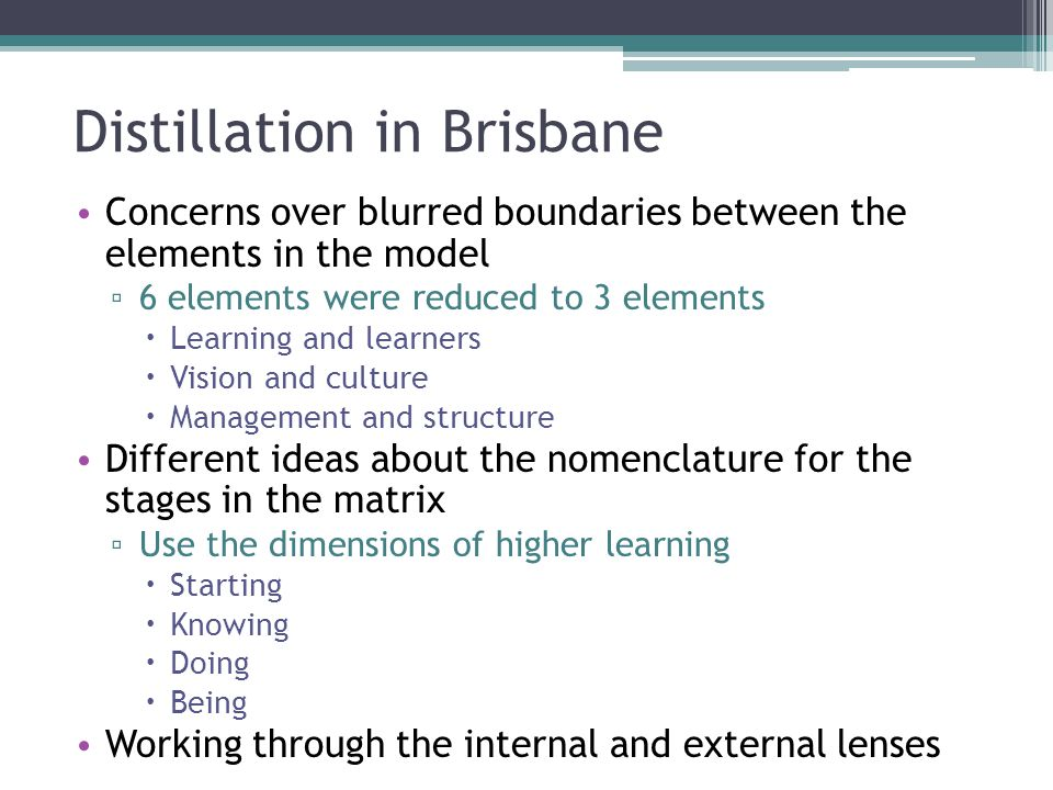 Distillation in Brisbane Concerns over blurred boundaries between the elements in the model ▫ 6 elements were reduced to 3 elements  Learning and lea