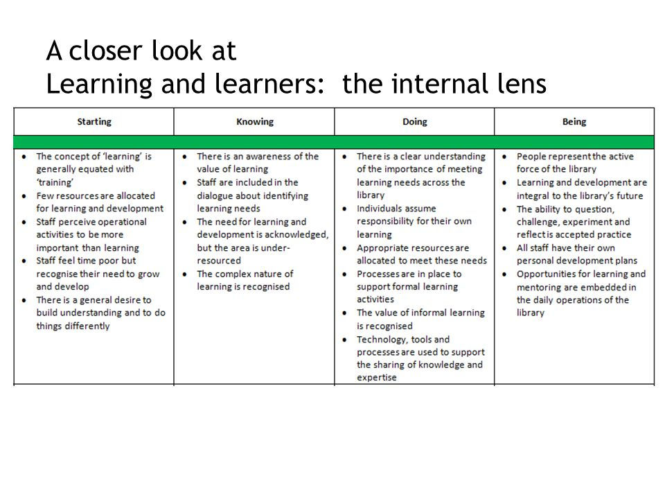 A closer look at Learning and learners: the internal lens