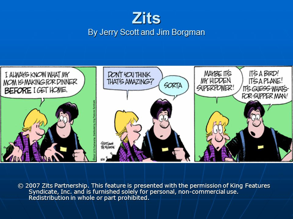 Zits By Jerry Scott and Jim Borgman © 2007 Zits Partnership. This feature is presented with the permission of King Features Syndicate, Inc. and is fur