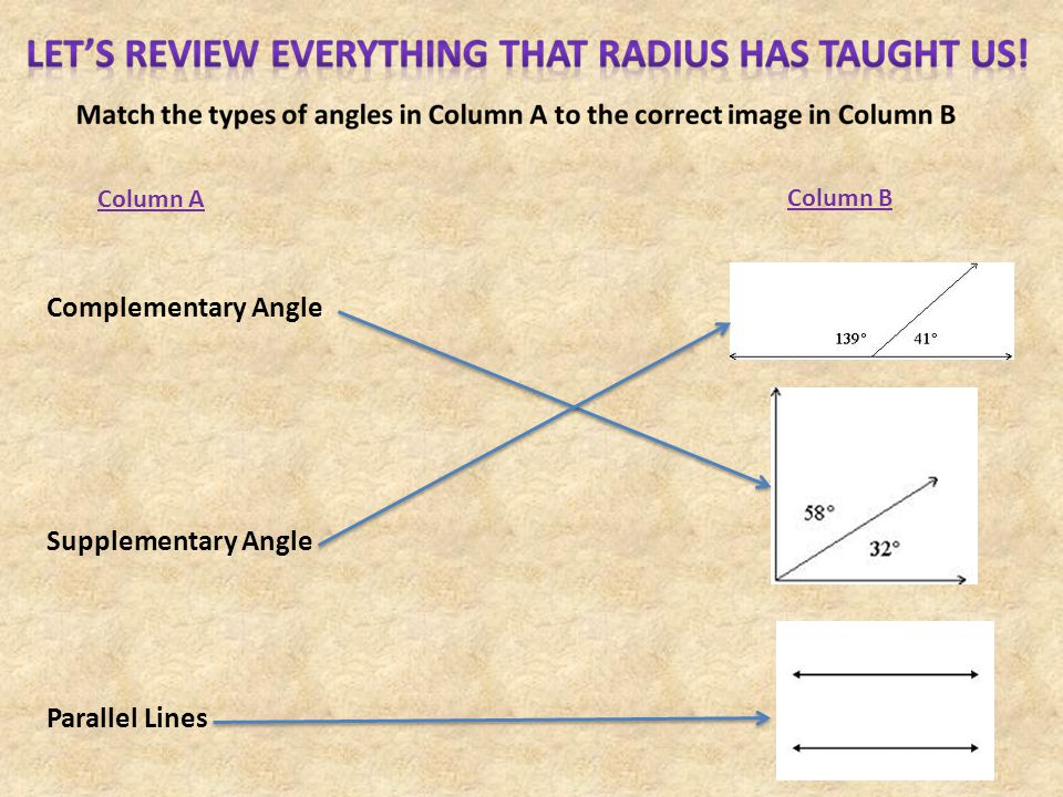 Complementary Angle Supplementary Angle Parallel Lines Column A Column B