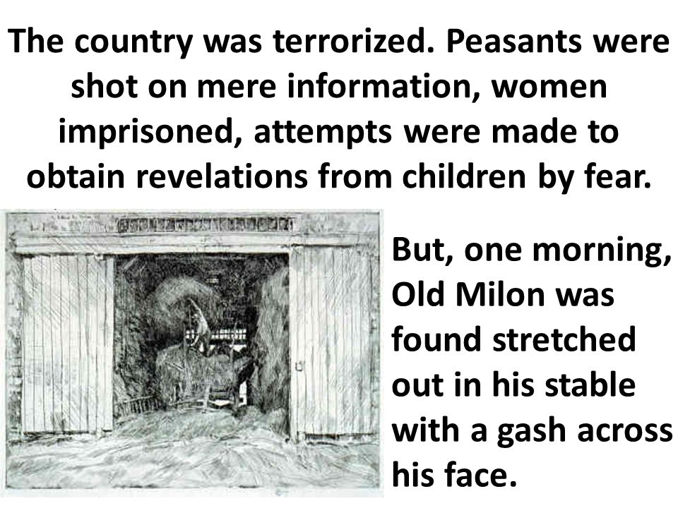 The country was terrorized. Peasants were shot on mere information, women imprisoned, attempts were made to obtain revelations from children by fear.