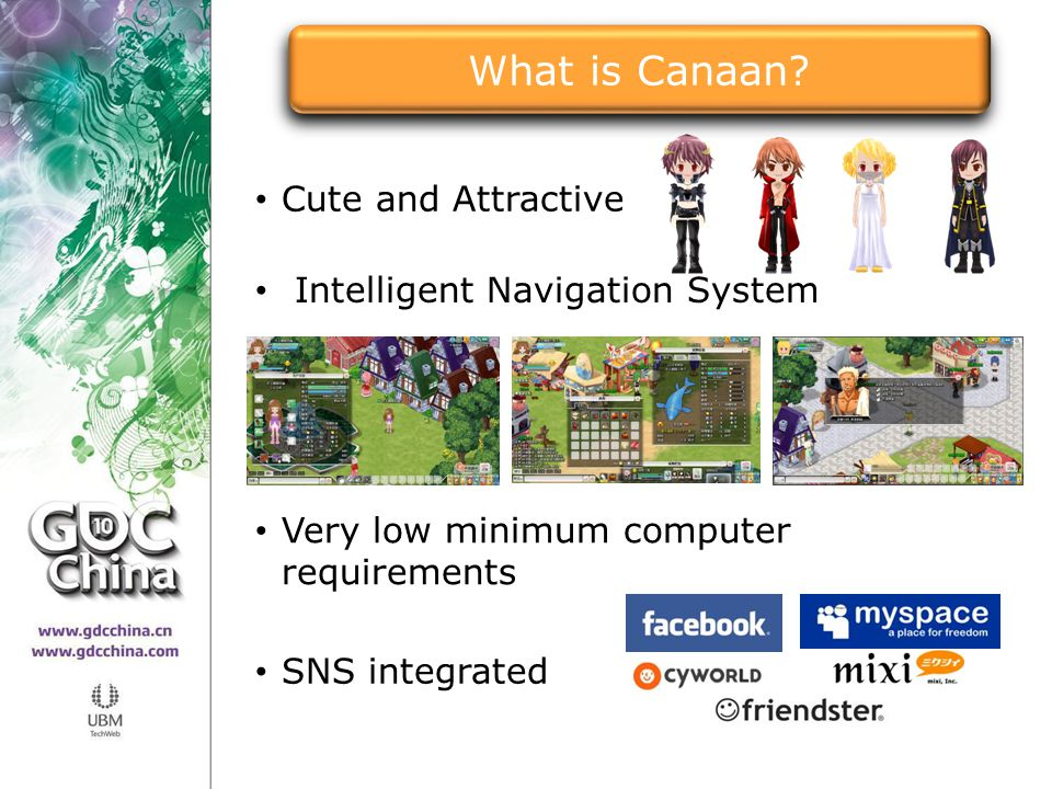 Cute and Attractive Very low minimum computer requirements SNS integrated Intelligent Navigation System What is Canaan?