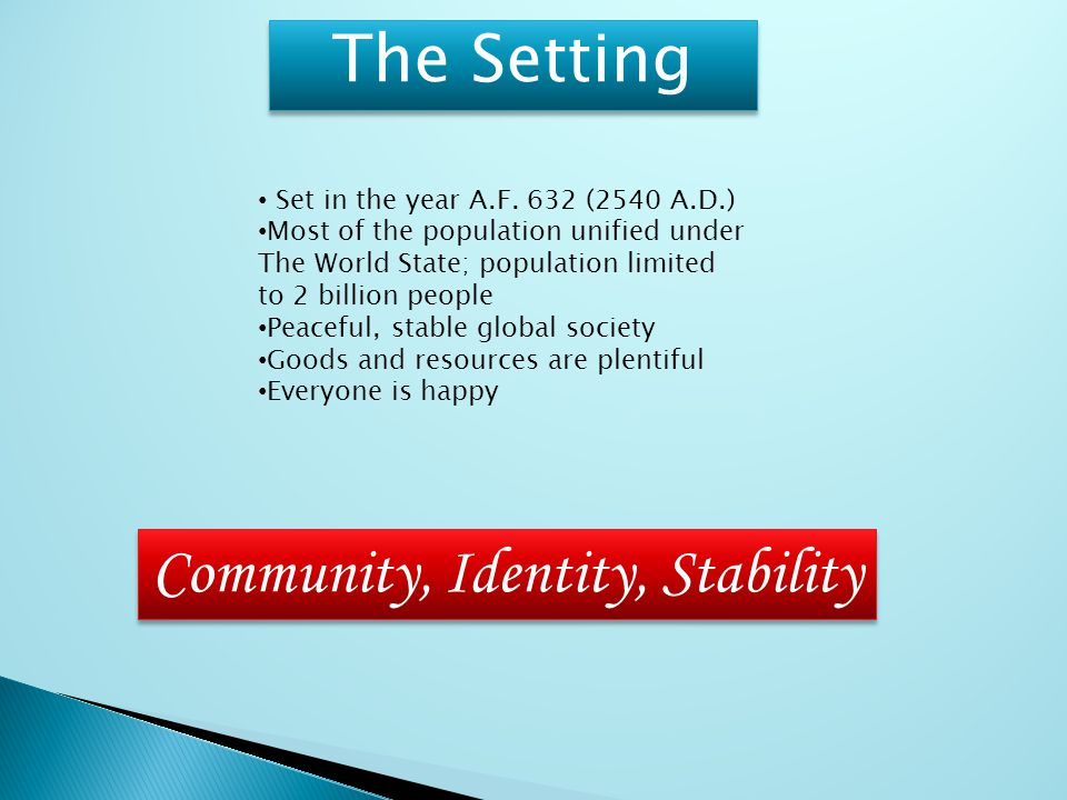 The Setting Set in the year A.F. 632 (2540 A.D.) Most of the population unified under The World State; population limited to 2 billion people Peaceful