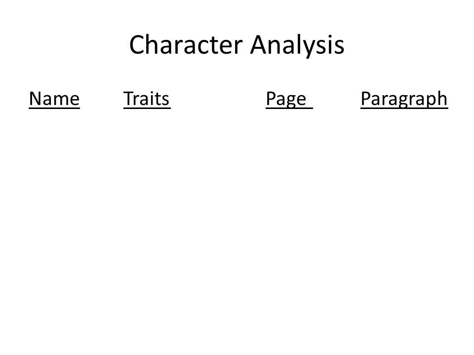 Character Analysis NameTraitsPageParagraph
