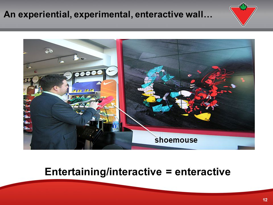 12 An experiential, experimental, enteractive wall… Entertaining/interactive = enteractive shoemouse