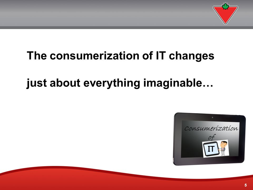5 5 The consumerization of IT changes just about everything imaginable…