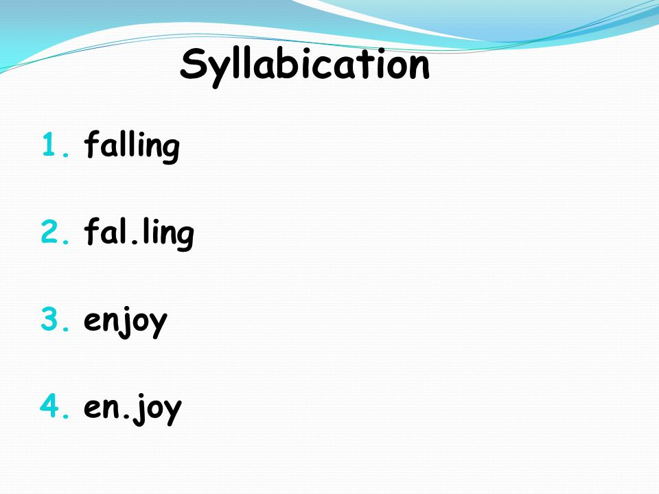 Syllabication 1. falling 2. fal.ling 3. enjoy 4. en.joy