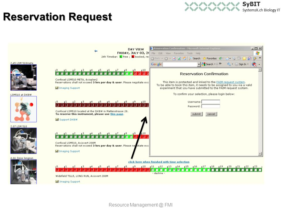 Reservation Request Resource Management @ FMI