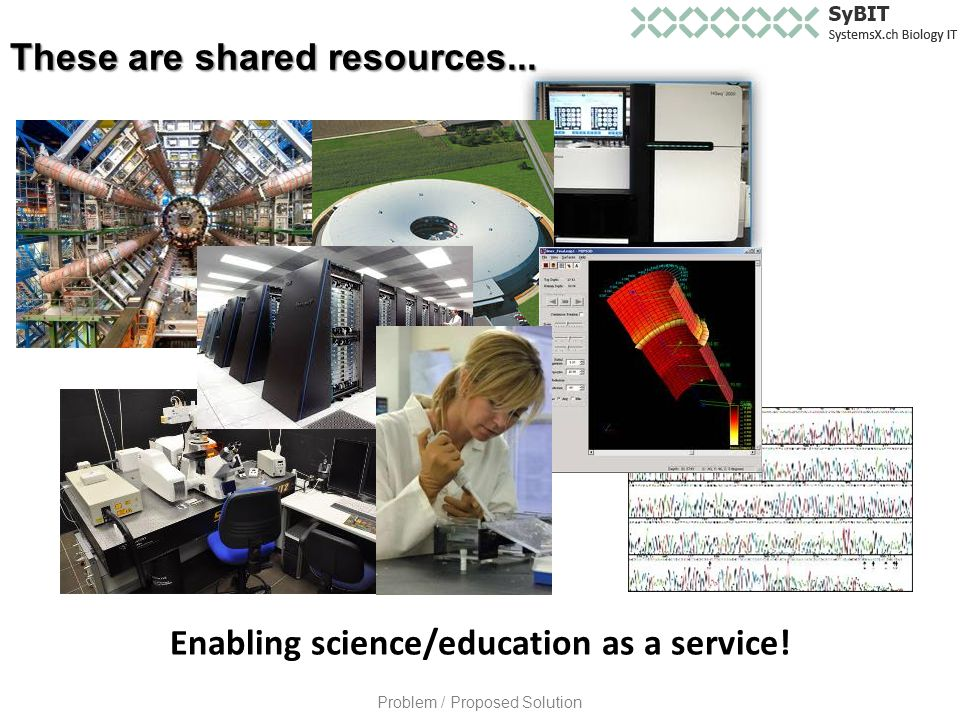Enabling science/education as a service! These are shared resources... Problem / Proposed Solution