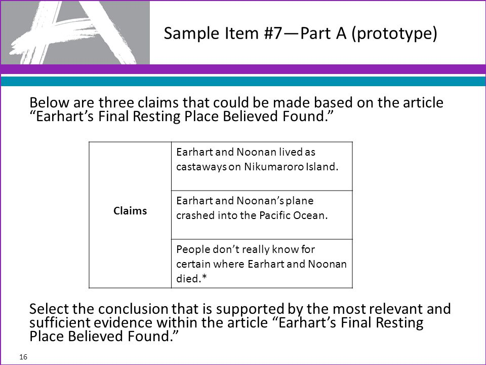 Below are three claims that could be made based on the article Earhart's Final Resting Place Believed Found. Select the conclusion that is supported by the most relevant and sufficient evidence within the article Earhart's Final Resting Place Believed Found. Sample Item #7—Part A (prototype) 16 Claims Earhart and Noonan lived as castaways on Nikumaroro Island.
