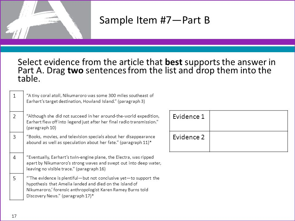 Select evidence from the article that best supports the answer in Part A.