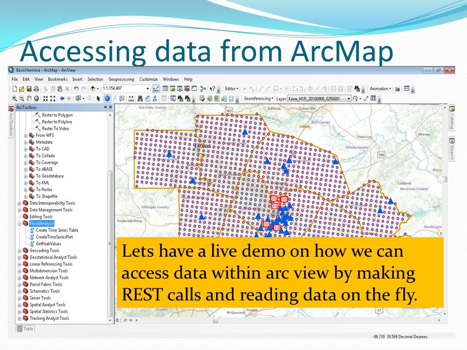 Accessing data from ArcMap Lets have a live demo on how we can access data within arc view by making REST calls and reading data on the fly.