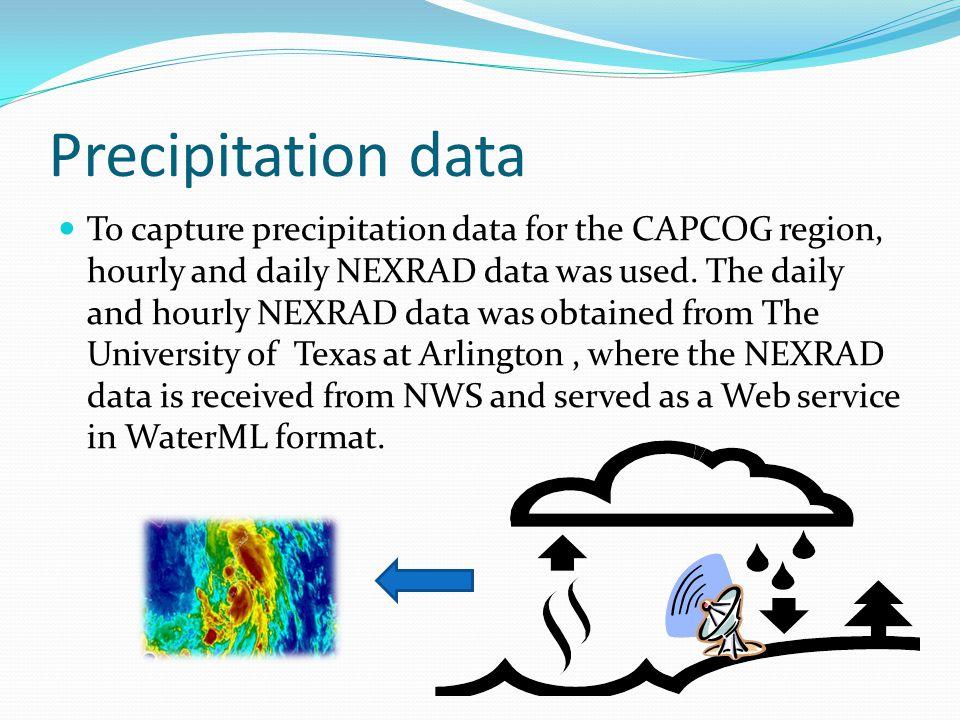 Precipitation data To capture precipitation data for the CAPCOG region, hourly and daily NEXRAD data was used.