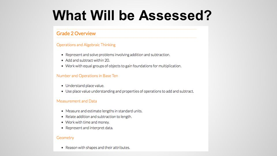 What Will be Assessed