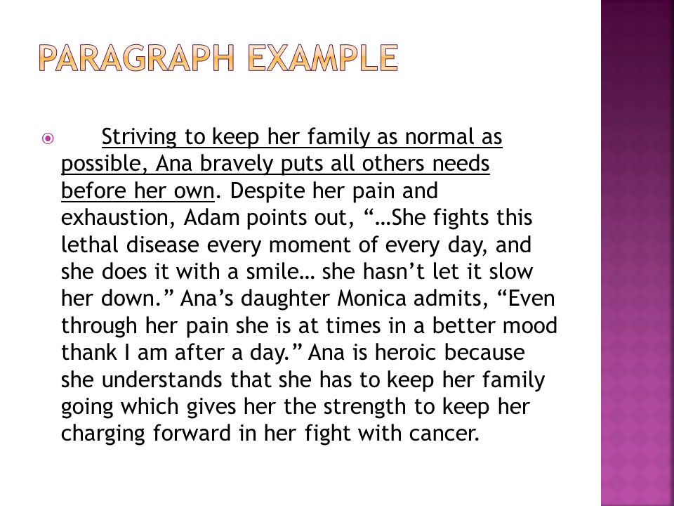  Striving to keep her family as normal as possible, Ana bravely puts all others needs before her own.