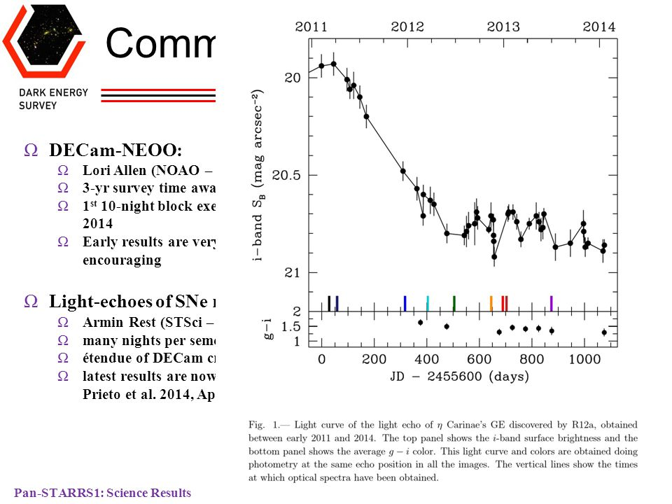 Pan-STARRS1: Science Results Dark Energy Survey David James Community Use of DECam: ΩDECam-NEOO: ΩLori Allen (NOAO – PI) Ω3-yr survey time awarded Ω1