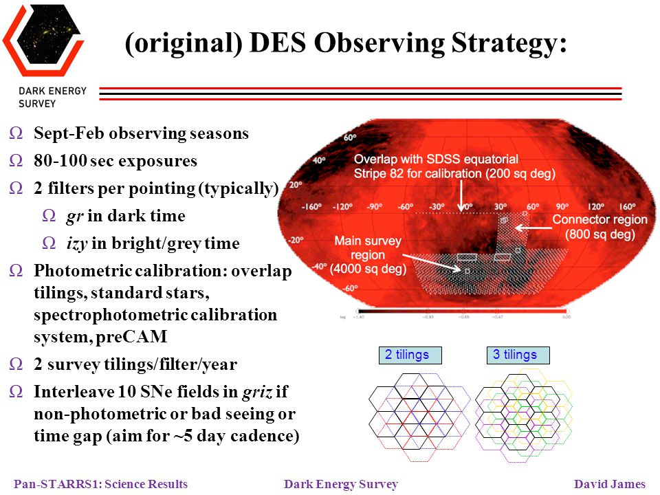 Pan-STARRS1: Science Results Dark Energy Survey David James (present) DES Observing Strategy: Year 1 regions SDSS Stripe 82 SPT Year 1: ΩMoved footprint eastward to reduce secZ, improve image quality ΩCover 2000 sq.