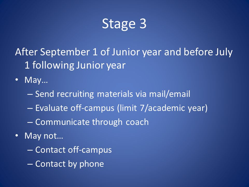 Stage 3 After September 1 of Junior year and before July 1 following Junior year May… – Send recruiting materials via mail/email – Evaluate off-campus