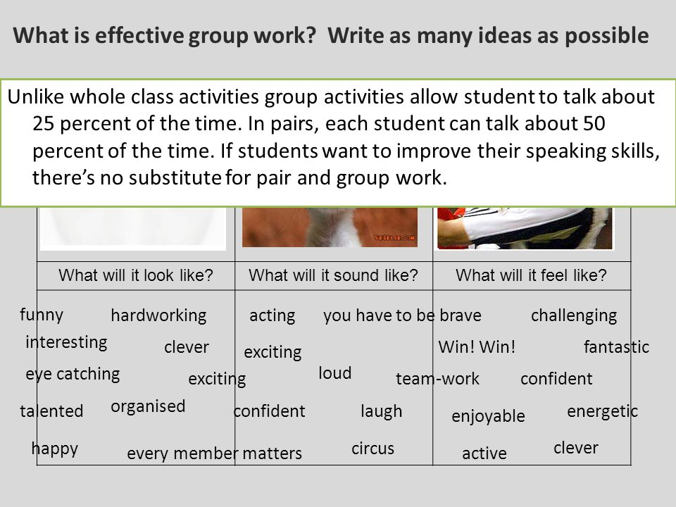 Four/five different activities.Four/five groups.