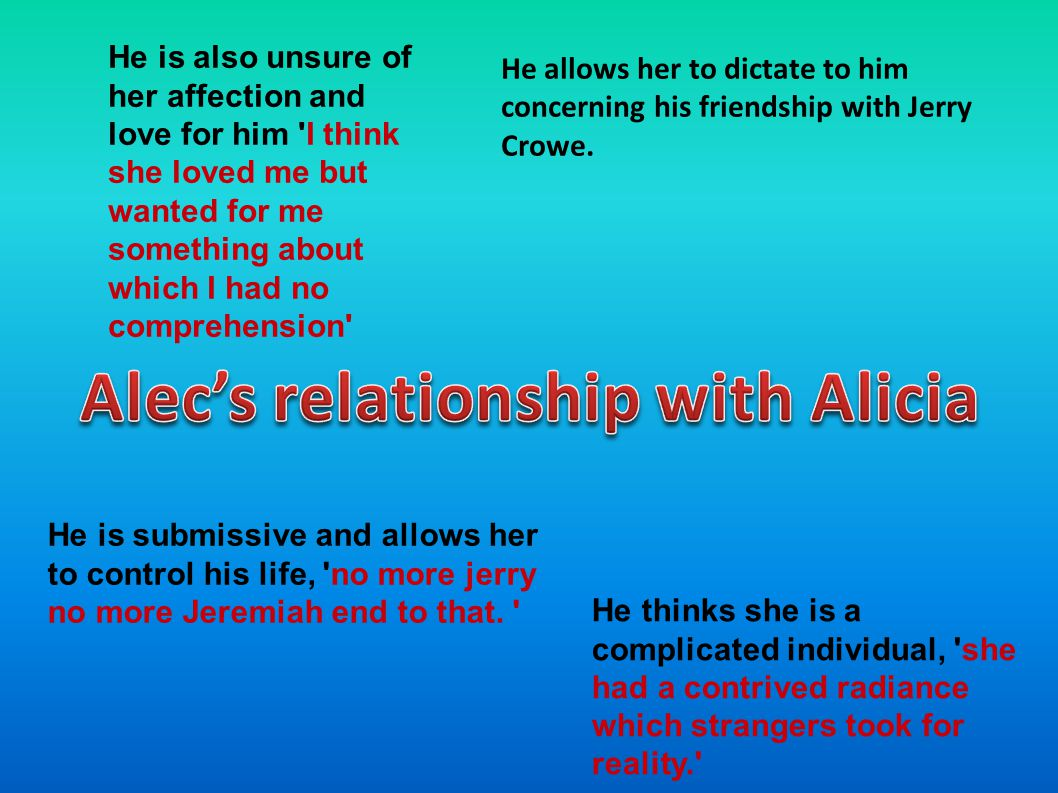 He is also unsure of her affection and love for him I think she loved me but wanted for me something about which I had no comprehension He allows her to dictate to him concerning his friendship with Jerry Crowe.
