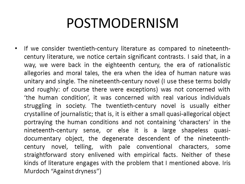 POSTMODERNISM The Writer as Liar Linda Hutcheon, Narcissistic Narrative (1980) Robert Scholes, The Fabulators (1967) Fabulation and Metafiction (1979) Peirce Fallibilism
