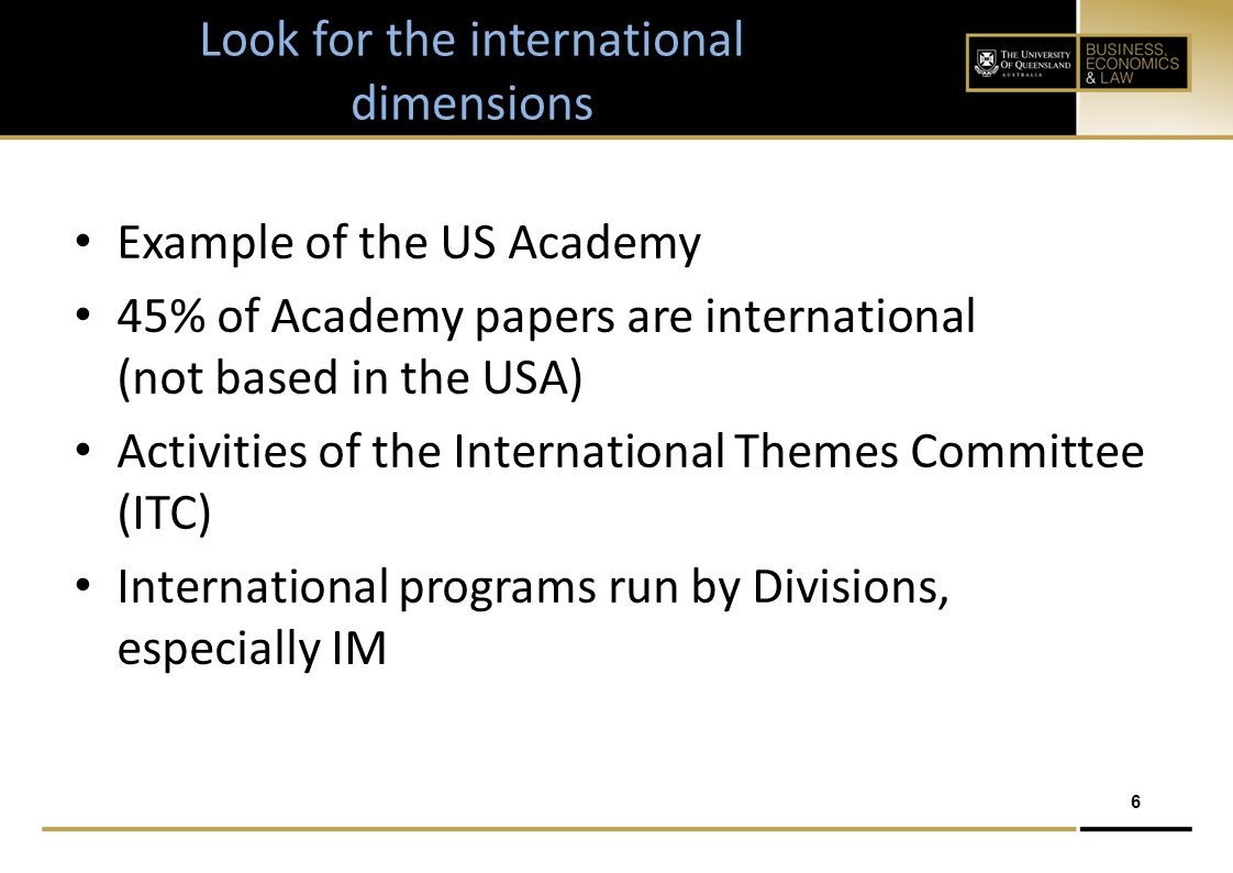 6 Look for the international dimensions Example of the US Academy 45% of Academy papers are international (not based in the USA) Activities of the International Themes Committee (ITC) International programs run by Divisions, especially IM