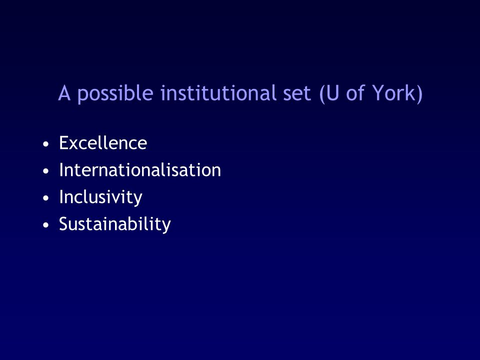 A possible institutional set (U of York) Excellence Internationalisation Inclusivity Sustainability
