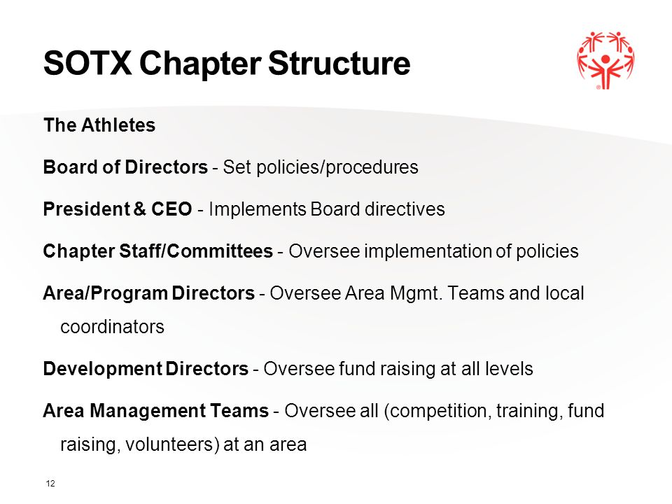 SOTX Chapter Structure The Athletes Board of Directors - Set policies/procedures President & CEO - Implements Board directives Chapter Staff/Committee