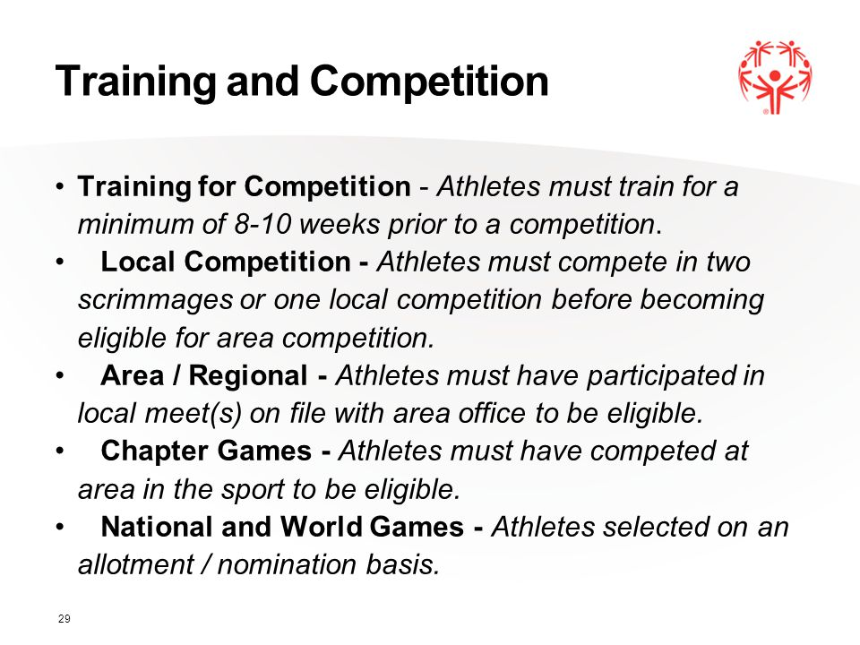 Training and Competition Training for Competition - Athletes must train for a minimum of 8-10 weeks prior to a competition. Local Competition - Athlet