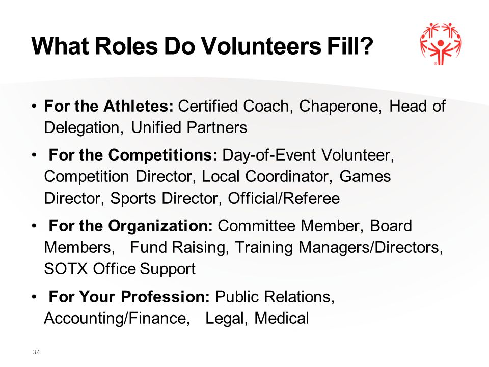What Roles Do Volunteers Fill? For the Athletes: Certified Coach, Chaperone, Head of Delegation, Unified Partners For the Competitions: Day-of-Event V