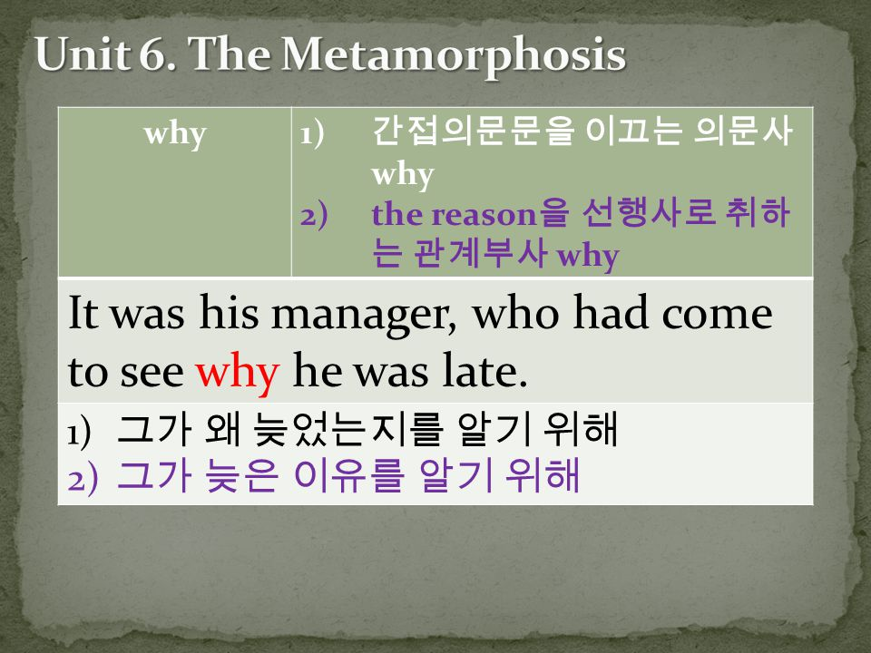 why 1) 간접의문문을 이끄는 의문사 why 2)the reason 을 선행사로 취하 는 관계부사 why It was his manager, who had come to see why he was late. 1) 그가 왜 늦었는지를 알기 위해 2) 그가 늦은 이유를