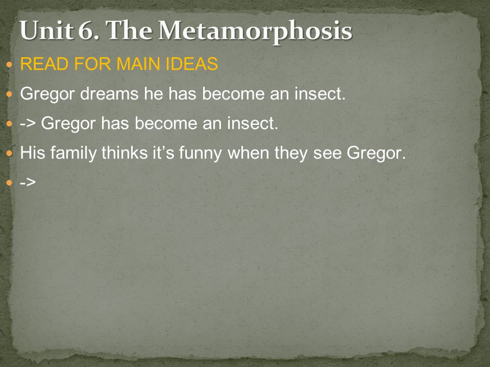 READ FOR MAIN IDEAS Gregor dreams he has become an insect.