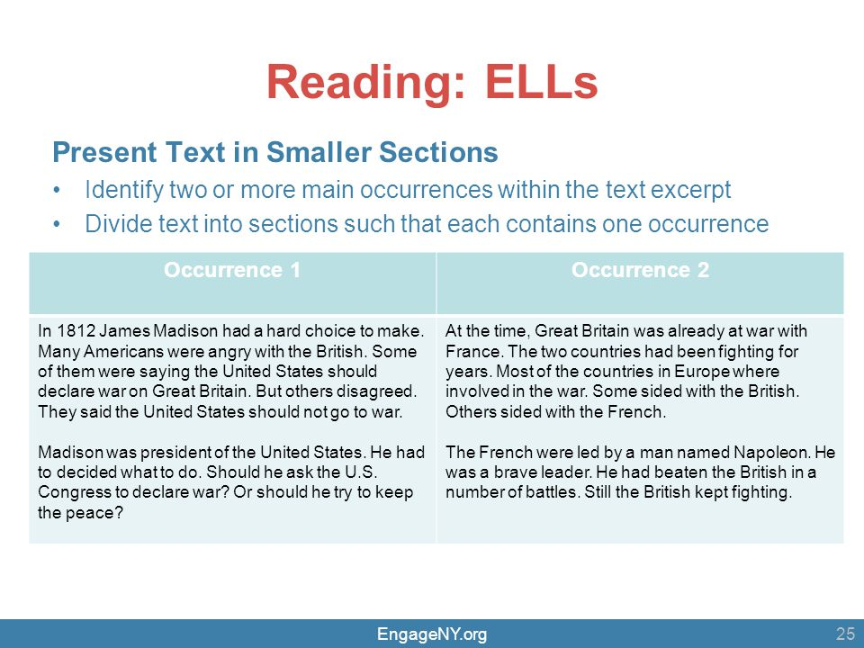 EngageNY.org Reading: ELLs Present Text in Smaller Sections Identify two or more main occurrences within the text excerpt Divide text into sections such that each contains one occurrence 25 Occurrence 1Occurrence 2 In 1812 James Madison had a hard choice to make.