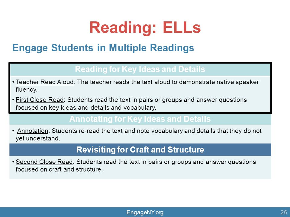 EngageNY.org Reading: ELLs 26 Reading for Key Ideas and Details Teacher Read Aloud: The teacher reads the text aloud to demonstrate native speaker fluency.