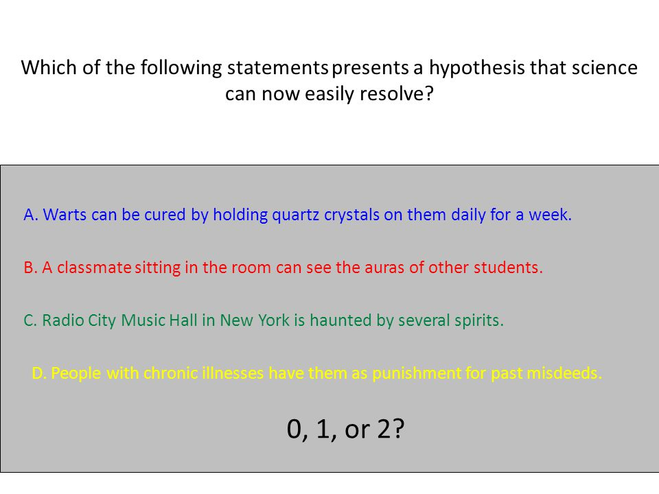 Which of the following statements presents a hypothesis that science can now easily resolve.