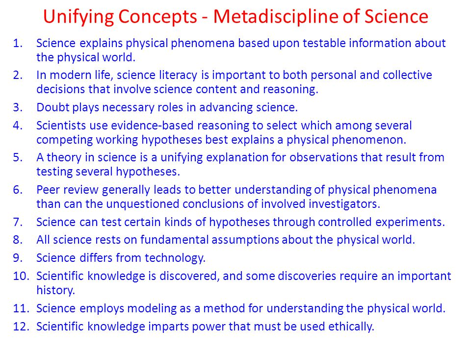 Unifying Concepts - Metadiscipline of Science 1.Science explains physical phenomena based upon testable information about the physical world.
