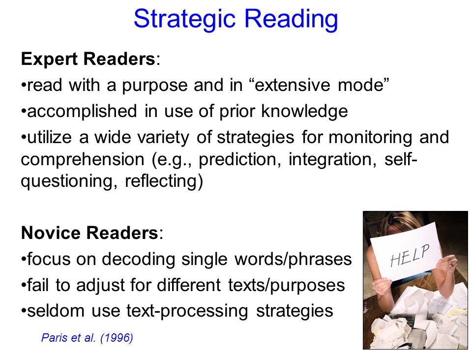 Strategic Reading Expert Readers: read with a purpose and in extensive mode accomplished in use of prior knowledge utilize a wide variety of strategies for monitoring and comprehension (e.g., prediction, integration, self- questioning, reflecting) Novice Readers: focus on decoding single words/phrases fail to adjust for different texts/purposes seldom use text-processing strategies Paris et al.