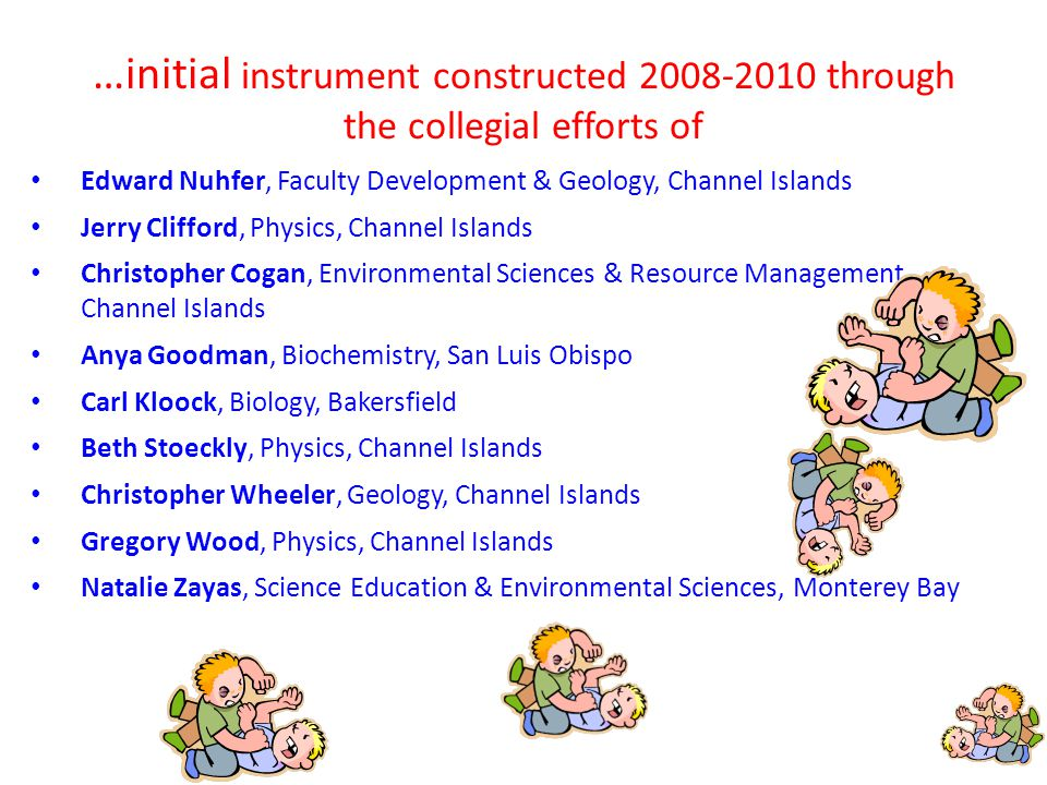 …initial instrument constructed 2008-2010 through the collegial efforts of Edward Nuhfer, Faculty Development & Geology, Channel Islands Jerry Clifford, Physics, Channel Islands Christopher Cogan, Environmental Sciences & Resource Management, Channel Islands Anya Goodman, Biochemistry, San Luis Obispo Carl Kloock, Biology, Bakersfield Beth Stoeckly, Physics, Channel Islands Christopher Wheeler, Geology, Channel Islands Gregory Wood, Physics, Channel Islands Natalie Zayas, Science Education & Environmental Sciences, Monterey Bay