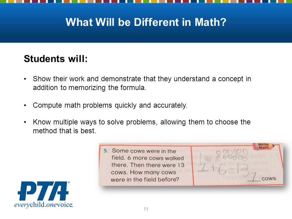 What Will be Different in Math? Students will: Show their work and demonstrate that they understand a concept in addition to memorizing the formula. C