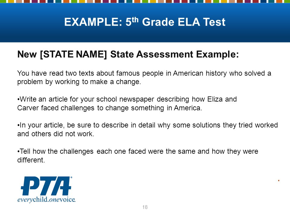 18 New [STATE NAME] State Assessment Example: You have read two texts about famous people in American history who solved a problem by working to make