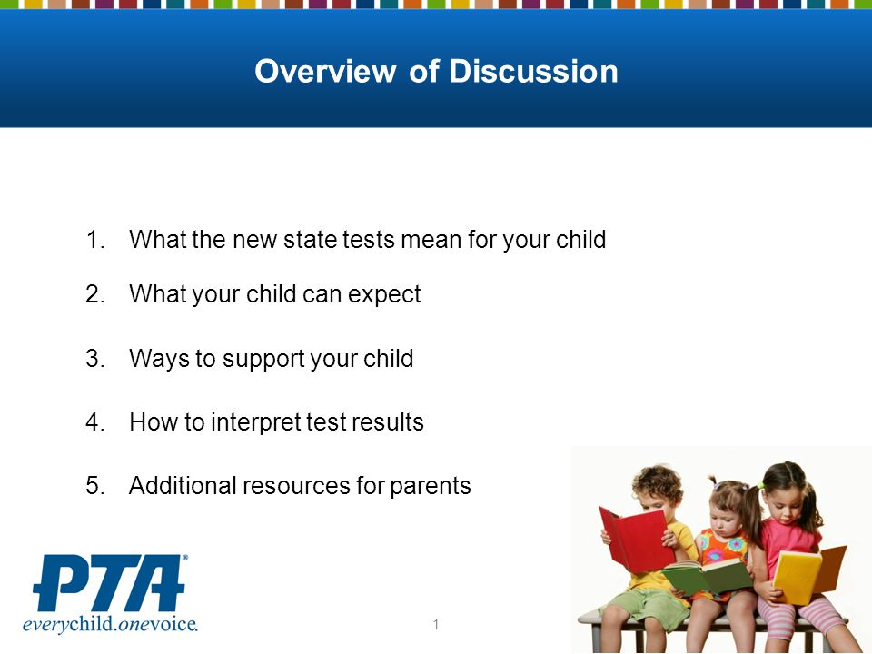 1.What the new state tests mean for your child 2.What your child can expect 3.Ways to support your child 4.How to interpret test results 5.Additional