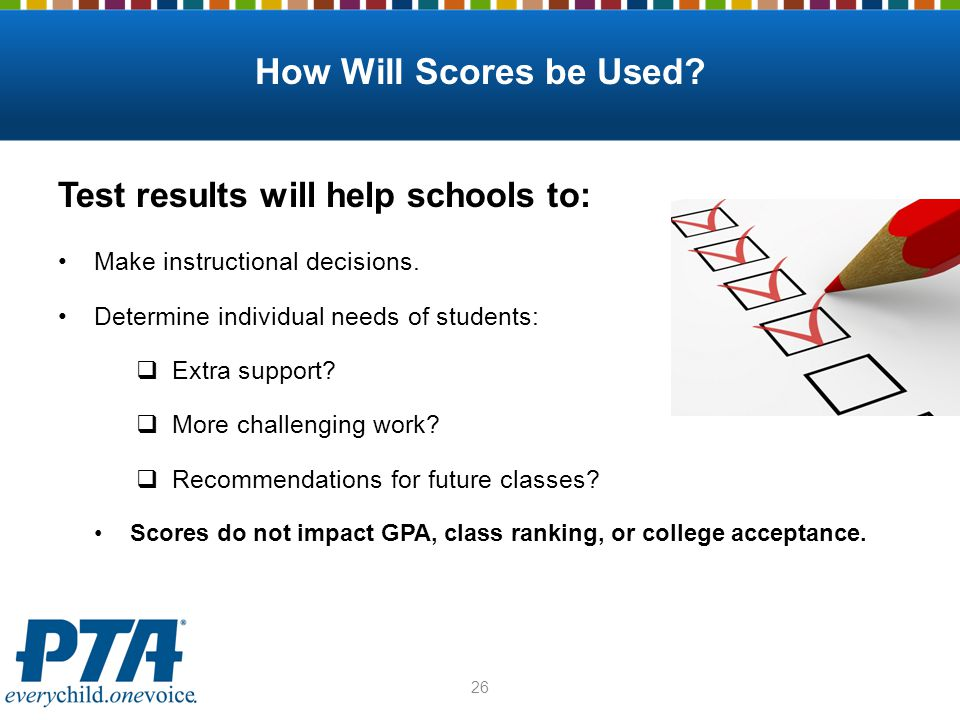 How Will Scores be Used? Test results will help schools to: Make instructional decisions. Determine individual needs of students:  Extra support?  M