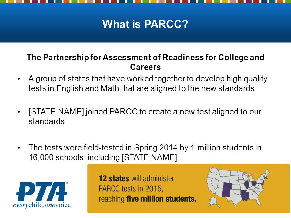 What is PARCC? The Partnership for Assessment of Readiness for College and Careers A group of states that have worked together to develop high quality