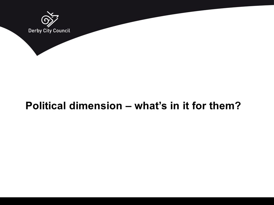 Political dimension – what's in it for them?