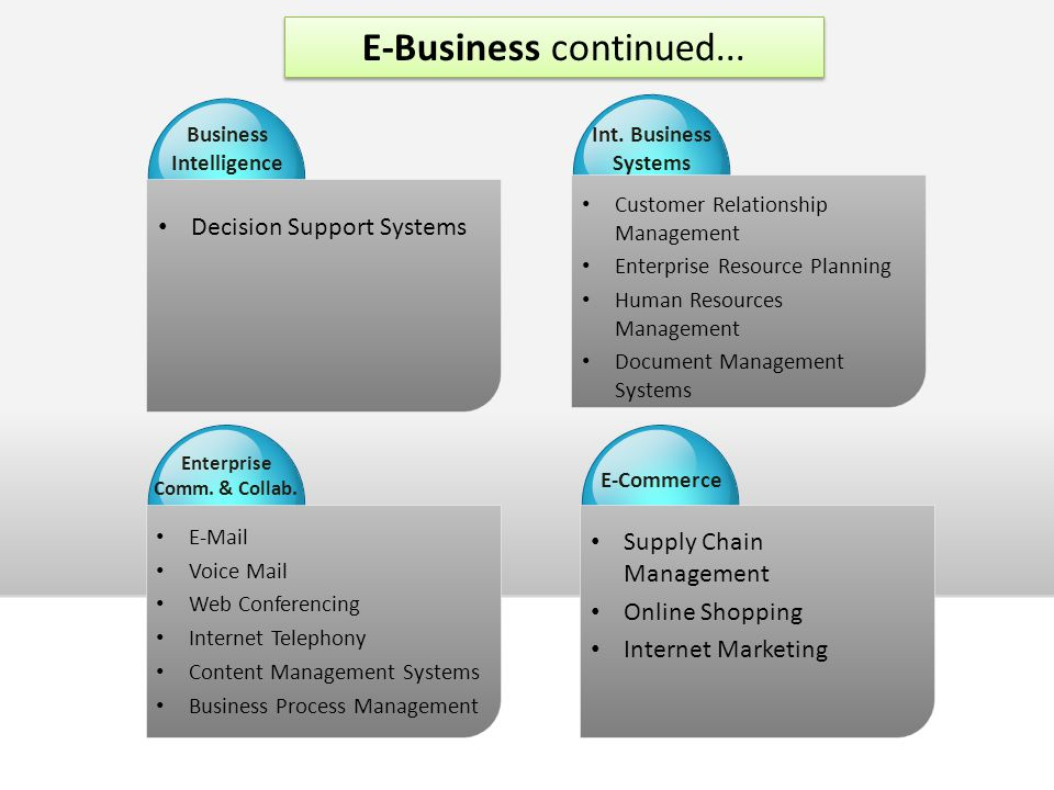Decision Support Systems Business Intelligence Customer Relationship Management Enterprise Resource Planning Human Resources Management Document Management Systems Int.