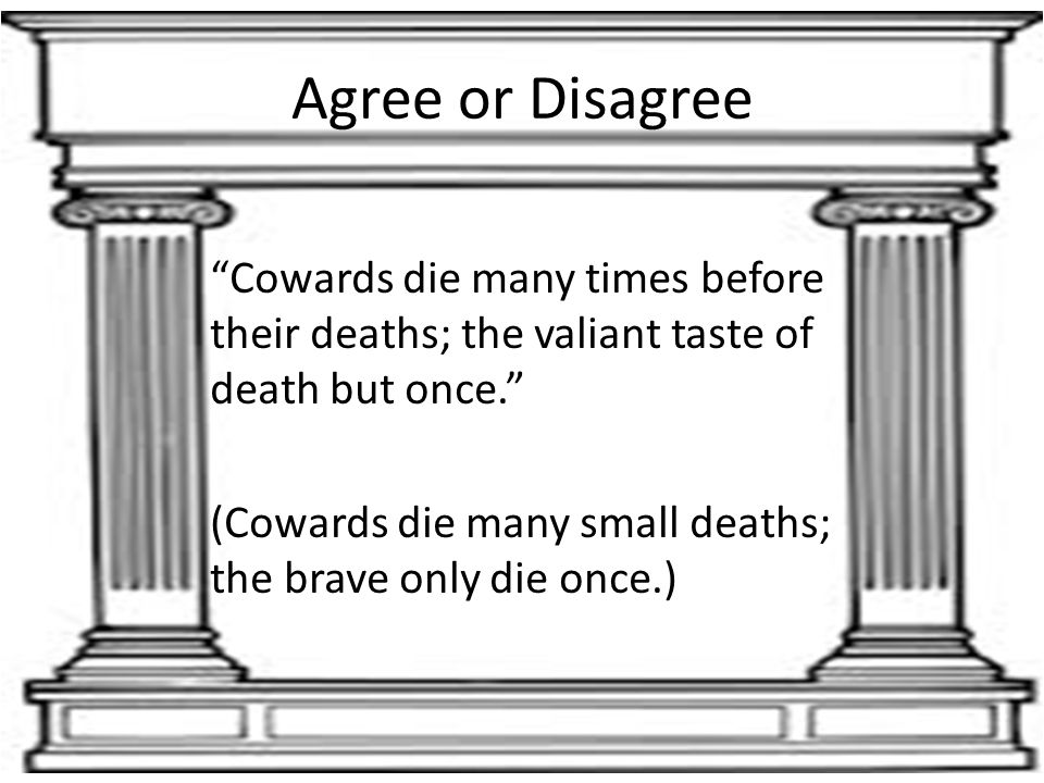 "Agree or Disagree ""Cowards die many times before their deaths; the valiant taste of death but once."" (Cowards die many small deaths; the brave only di"
